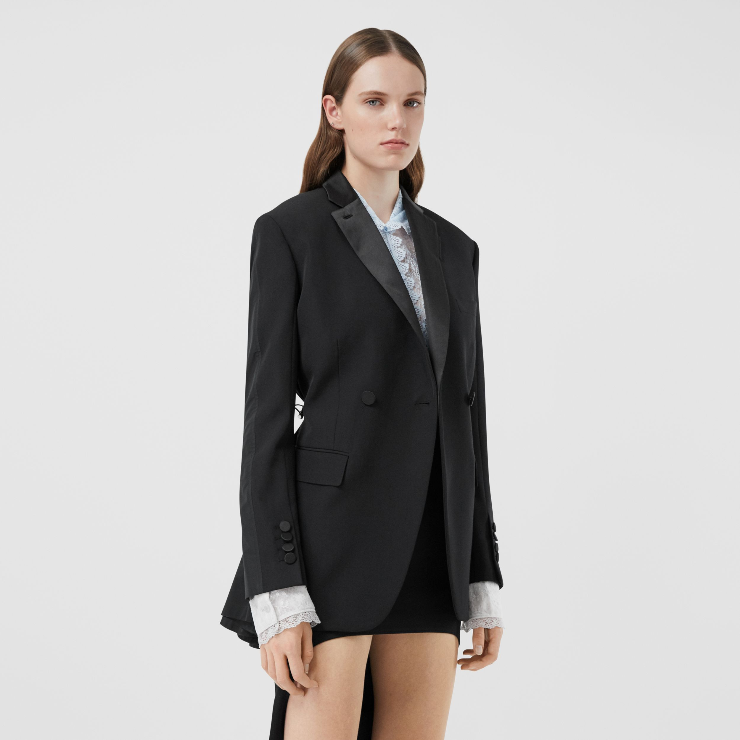 Cut-out Back Wool and Taffeta Tuxedo Jacket in Black - Women | Burberry - 1
