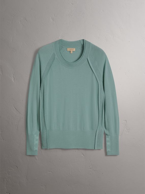 Open-knit Detail Cashmere Crew Neck Sweater in Eucalyptus Green - Women | Burberry - cell image 3
