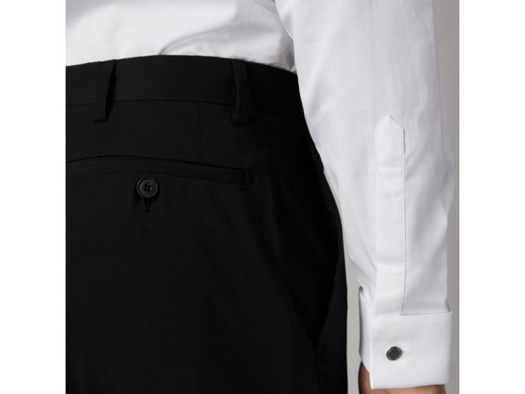 Slim Fit Wool Trousers in Black - Men | Burberry - cell image 4