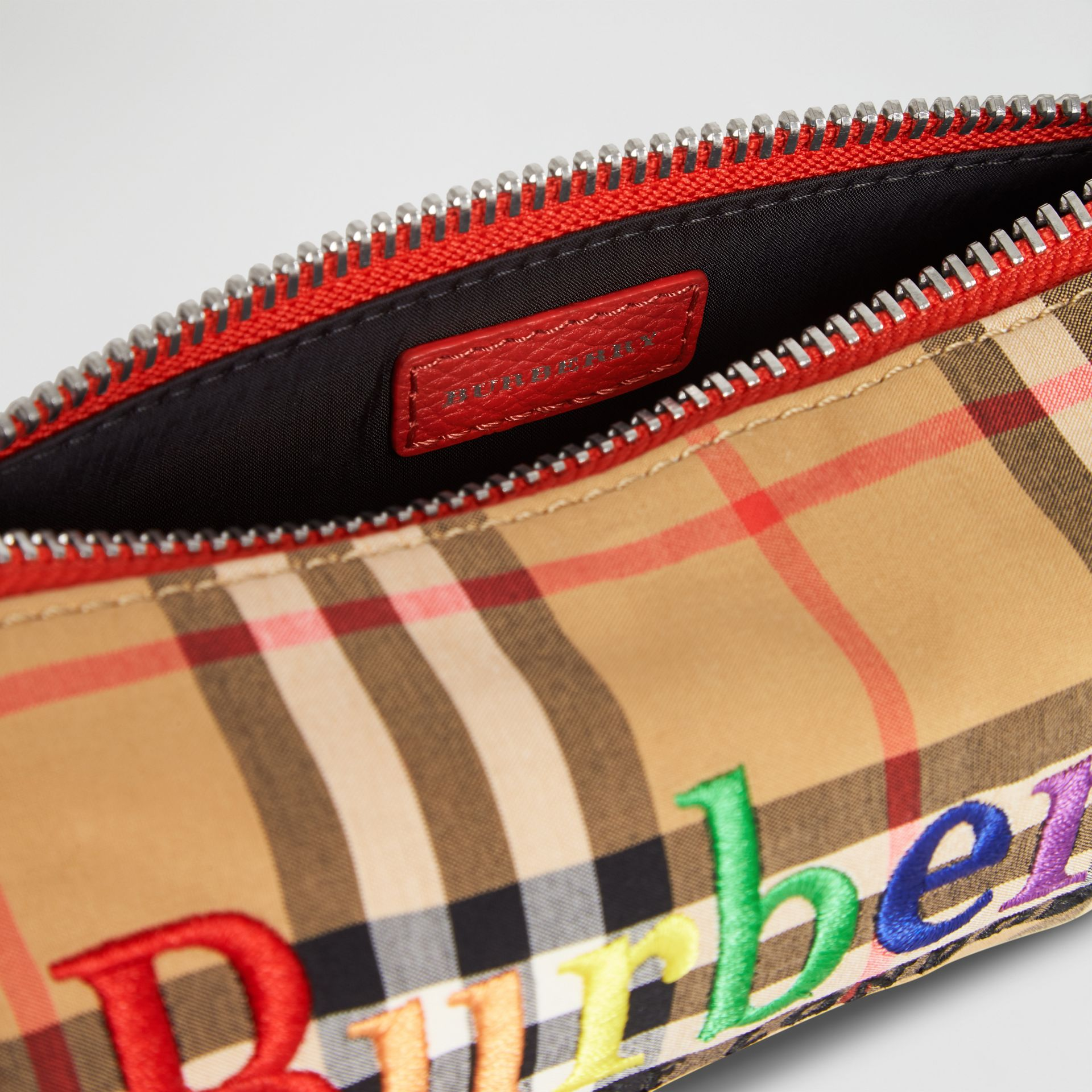 Embroidered Archive Logo Vintage Check Pencil Case in Antique Yellow | Burberry - gallery image 3