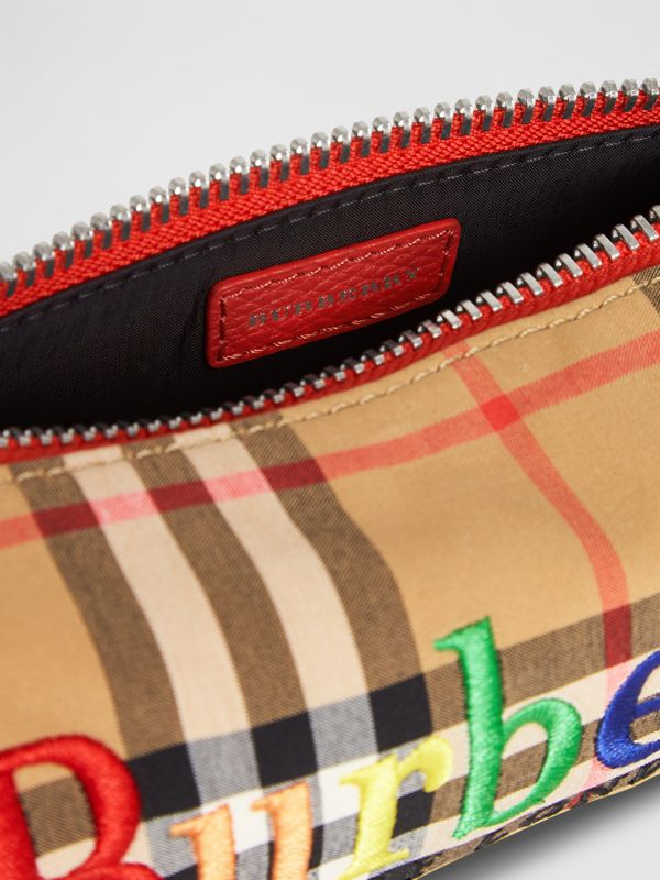 Embroidered Archive Logo Vintage Check Pencil Case in Antique Yellow | Burberry - cell image 3