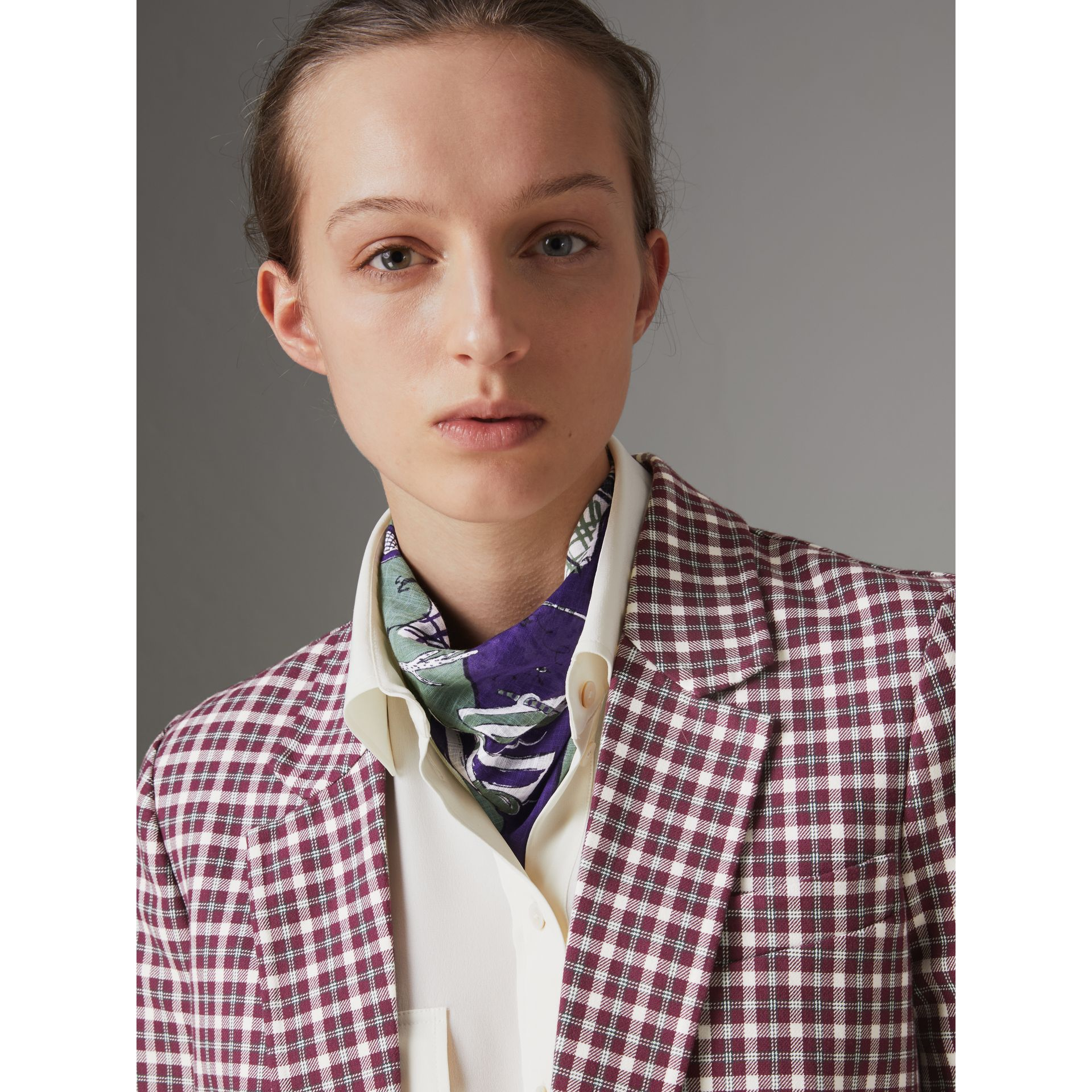Picnic Print Cotton Scarf in Regency Purple | Burberry United Kingdom - gallery image 2