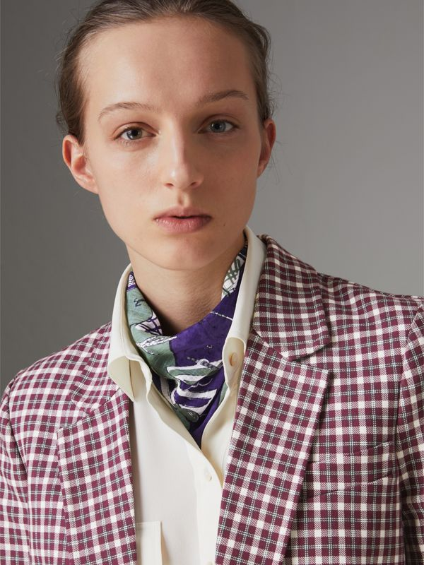 Picnic Print Cotton Scarf in Regency Purple | Burberry United Kingdom - cell image 2