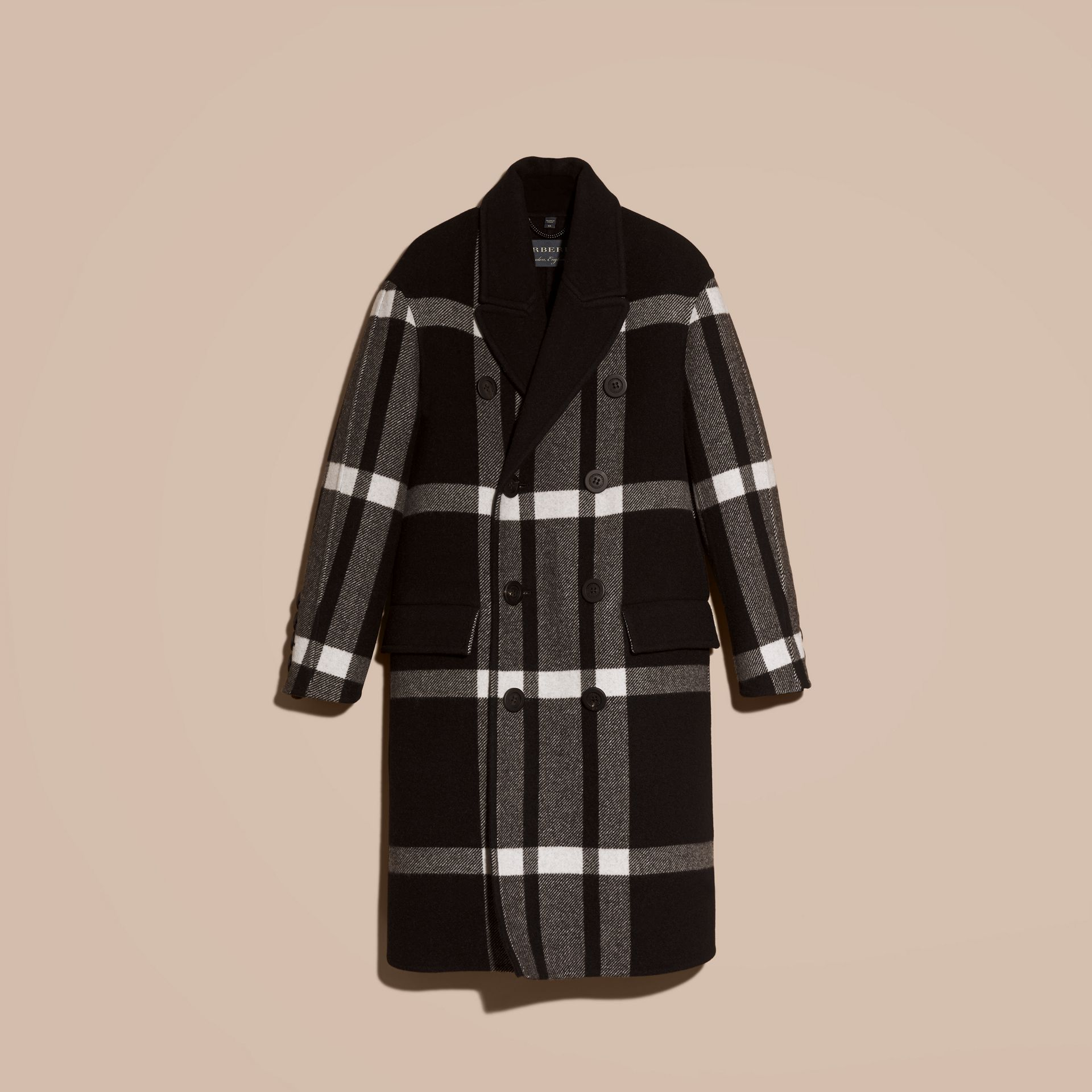 Black Double-breasted Check Wool Cashmere Coat - gallery image 4