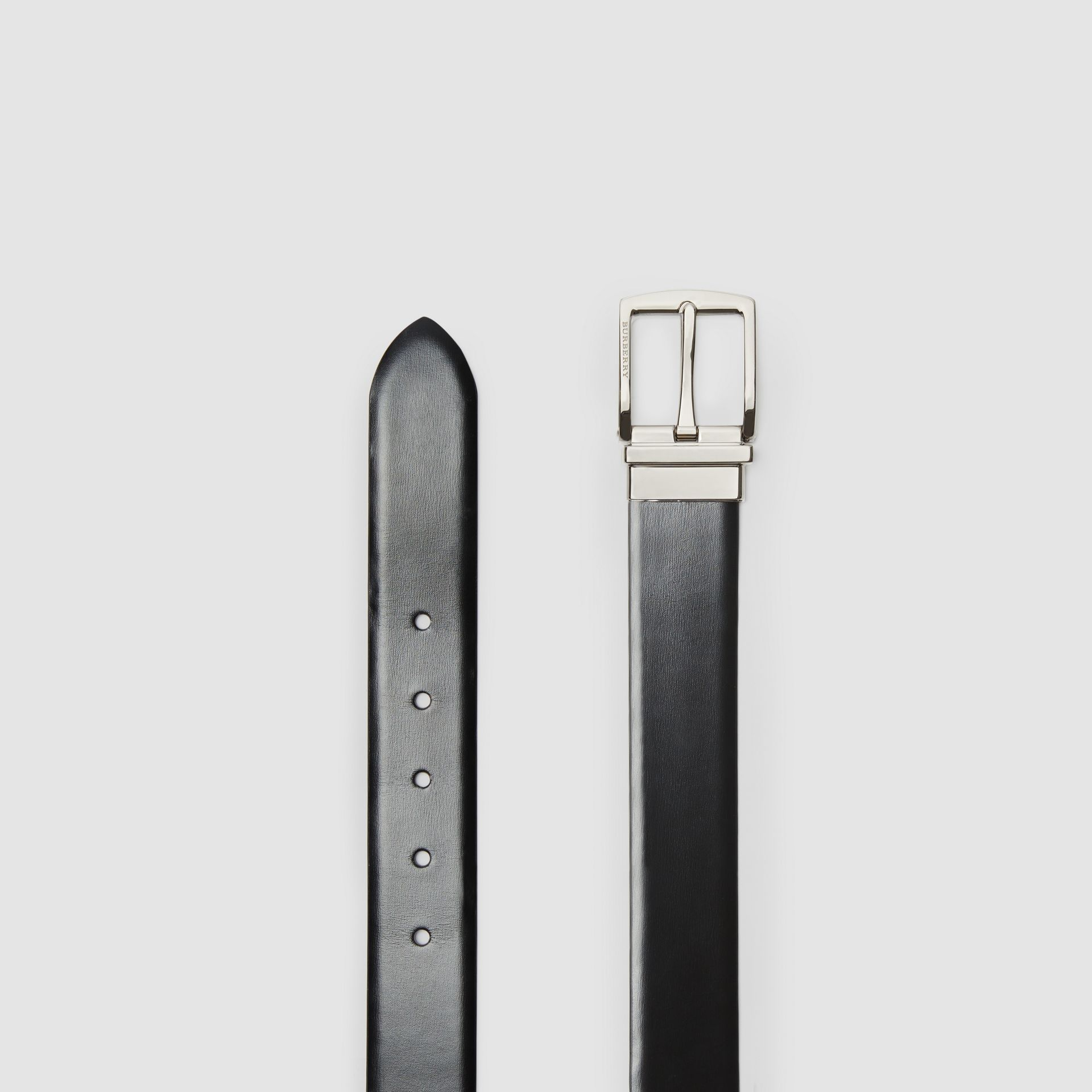 Reversible Leather Belt in Black/chocolate - Men | Burberry - gallery image 6