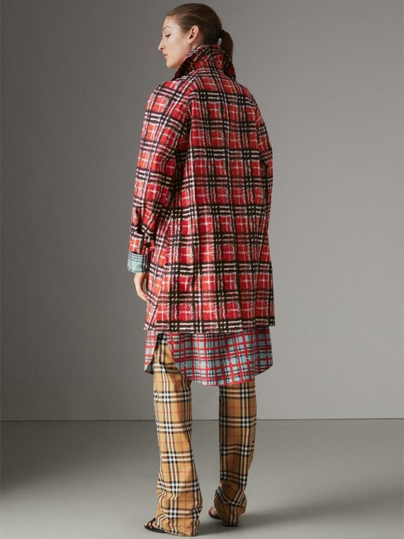Scribble Check Bonded Cotton Car Coat in Bright Military Red - Women | Burberry - cell image 2
