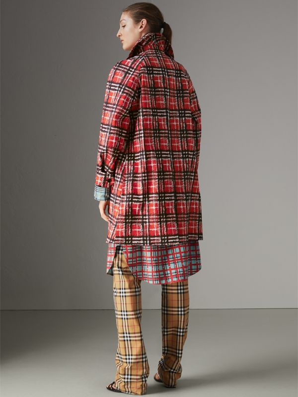 Scribble Check Bonded Cotton Car Coat in Bright Military Red - Women | Burberry Singapore - cell image 2