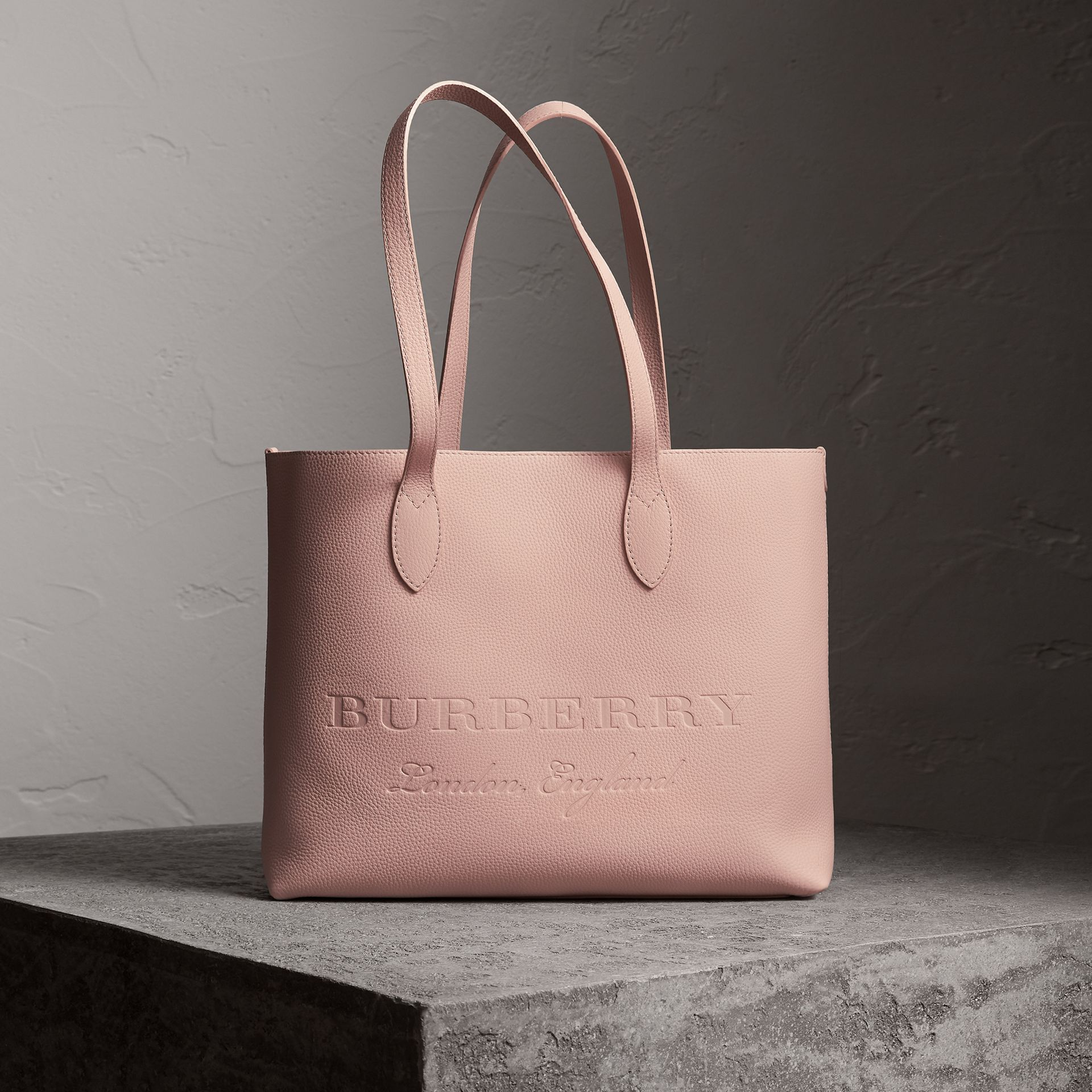 Embossed Leather Tote in Pale Ash Rose | Burberry - gallery image 0