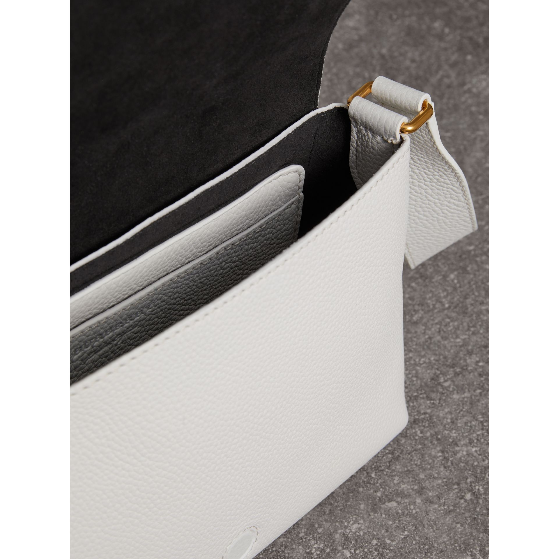 Small Embossed Leather Messenger Bag in Chalk White - Women | Burberry Singapore - gallery image 5
