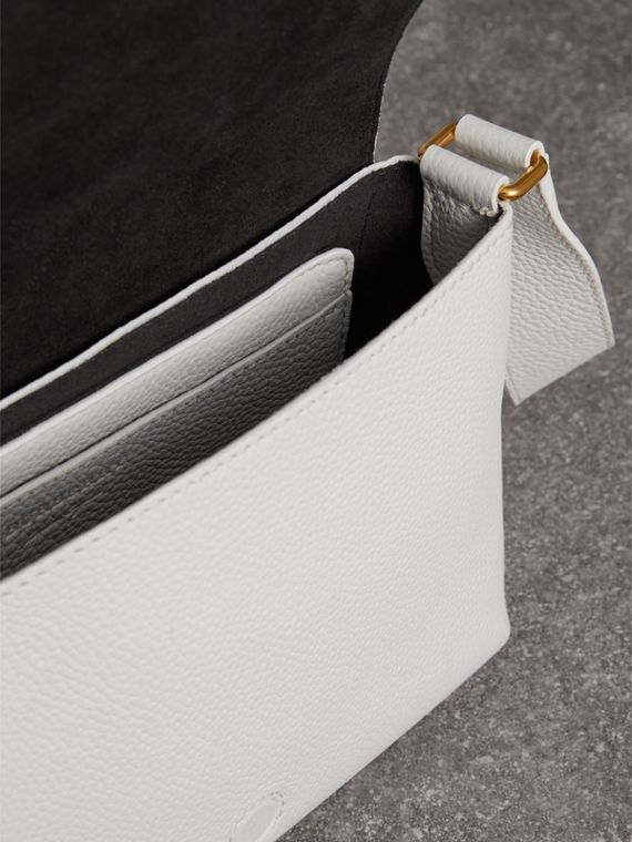 Small Embossed Leather Messenger Bag in Chalk White | Burberry - cell image 3