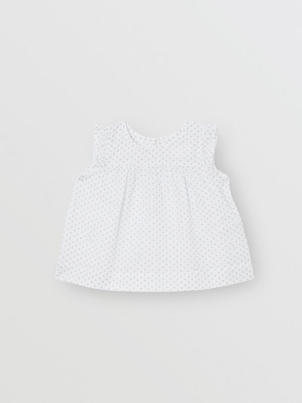 Polka Dot Cotton Three-piece Baby Gift Set in Natural White - Children | Burberry - cell image 3