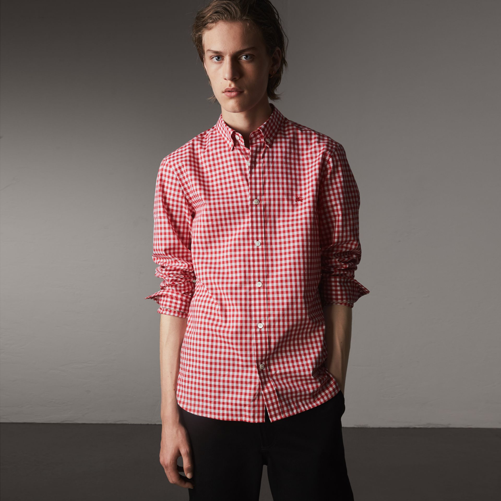Button-down Collar Gingham Cotton Shirt in Parade Red - Men | Burberry - gallery image 0