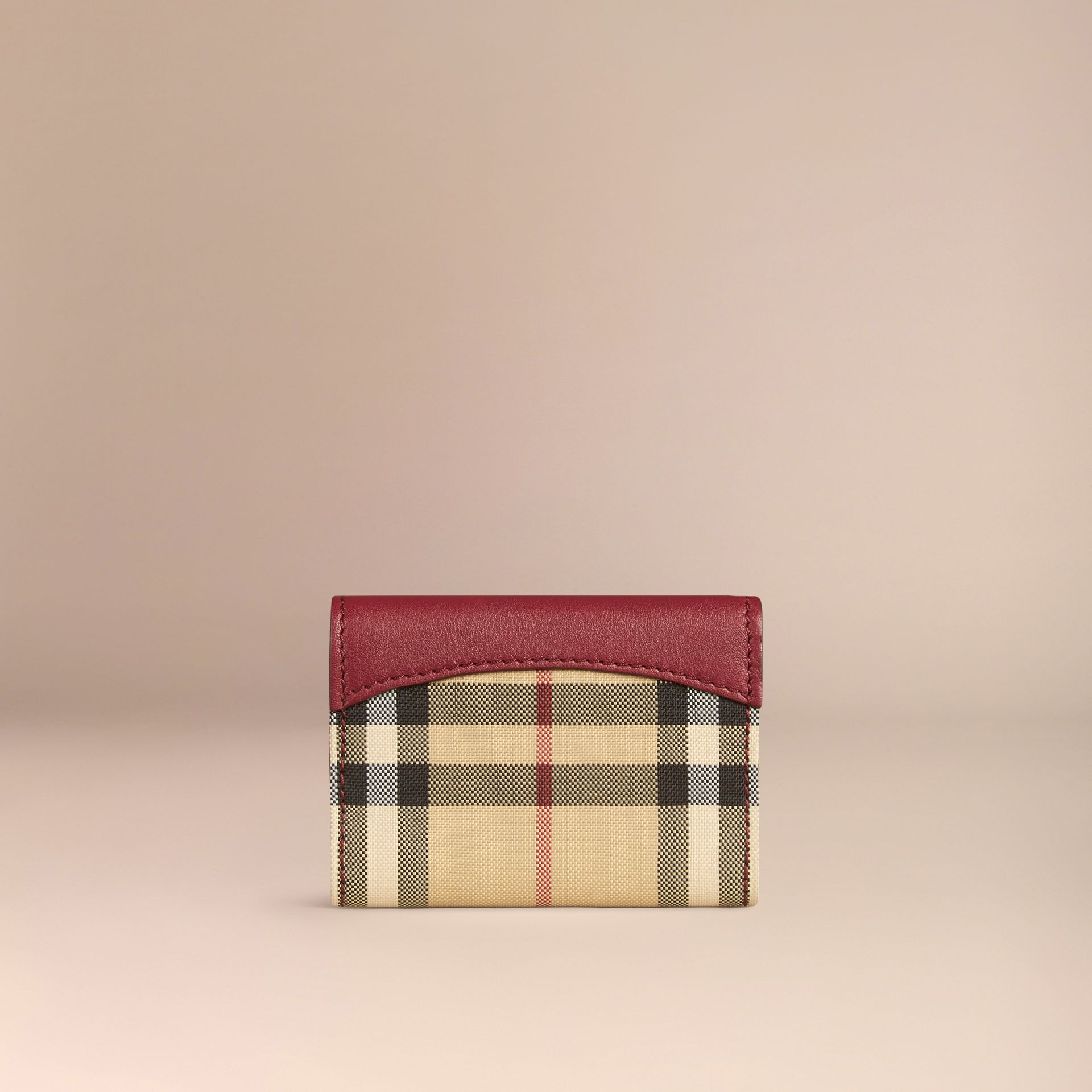 Dark plum Horseferry Check and Leather Card Case Dark Plum - gallery image 3
