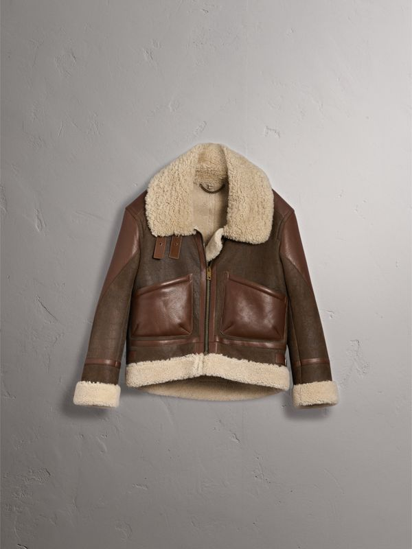 Lambskin Panelled Shearling Aviator Jacket in Dark Chocolate - Women | Burberry - cell image 3