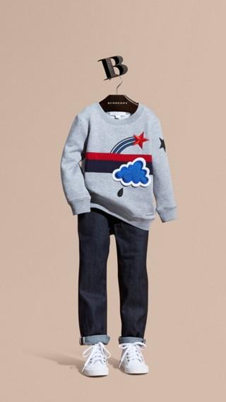 Appliquéd Weather Graphic Jersey Sweatshirt