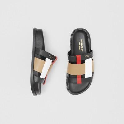 Colour Block Leather Slides in Black