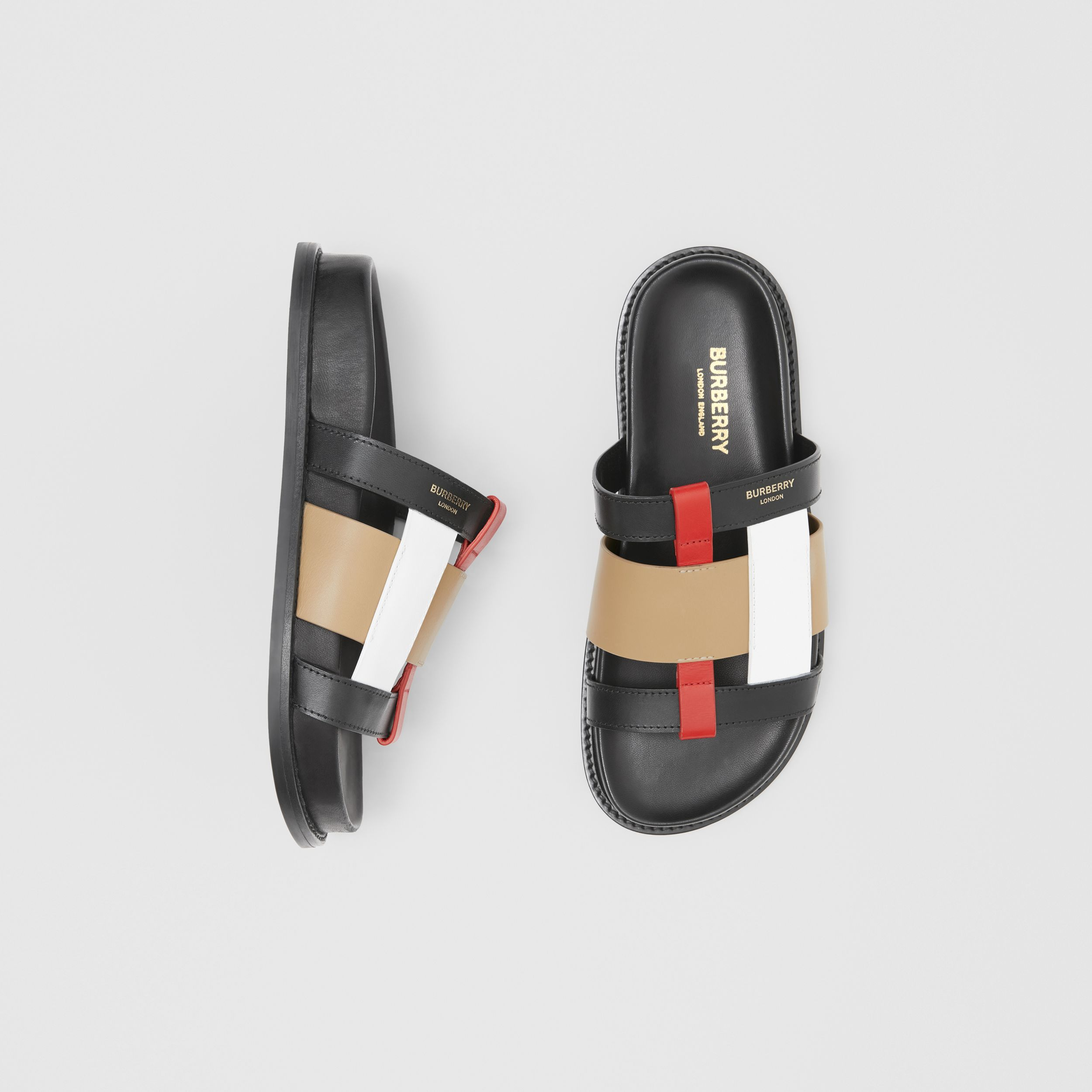 Colour Block Leather Slides in Black/archive Beige - Women | Burberry - 1