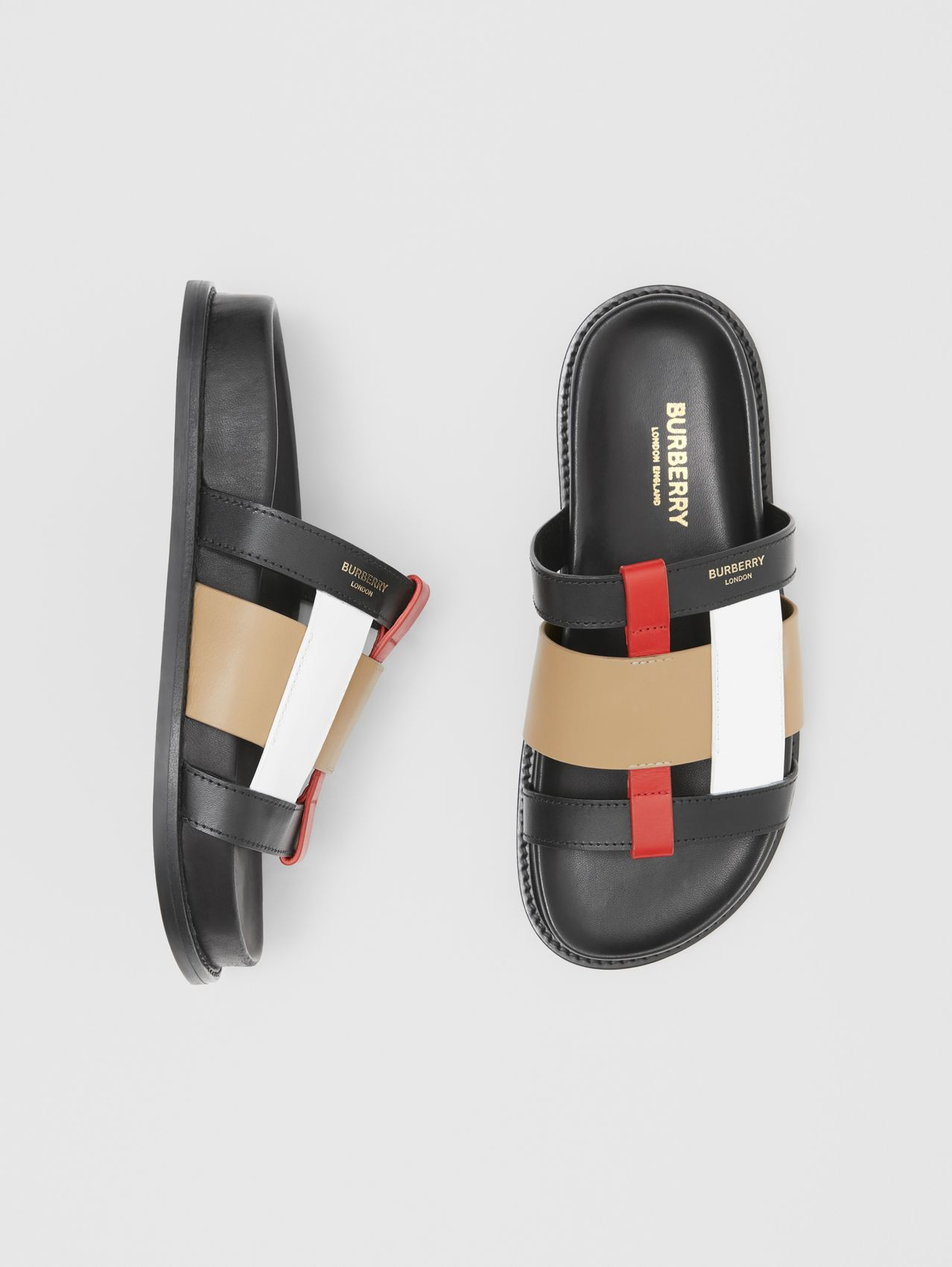 Leder-Slides in Colour-Blocking-Optik (Schwarz/vintage-beige)