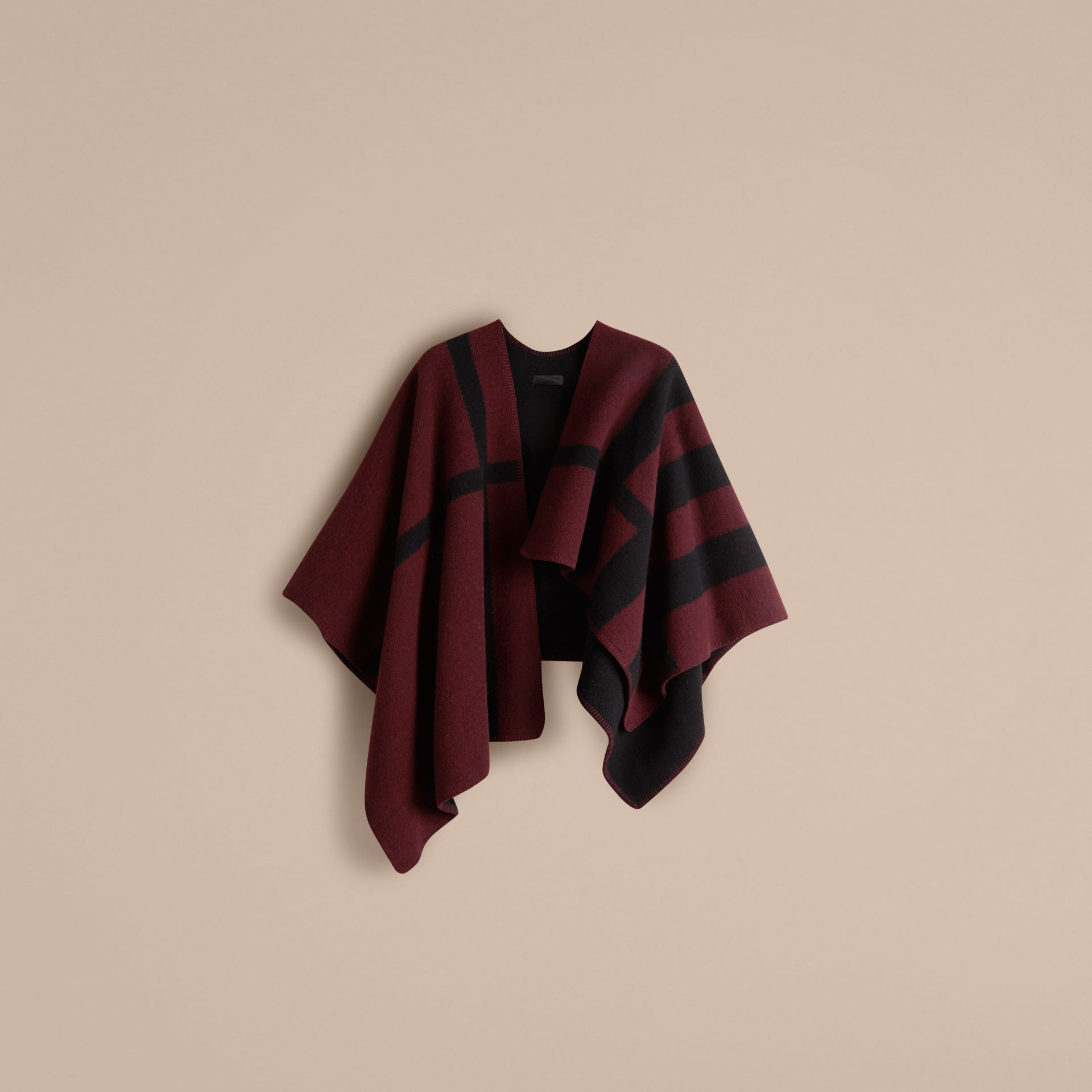 Oxblood Check Wool and Cashmere Blanket Poncho Oxblood - gallery image 3