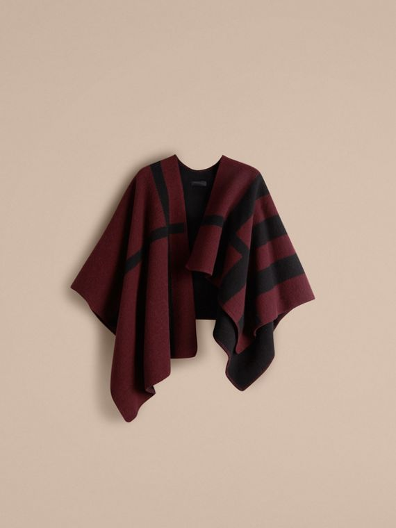 Oxblood Check Wool and Cashmere Blanket Poncho Oxblood - cell image 2