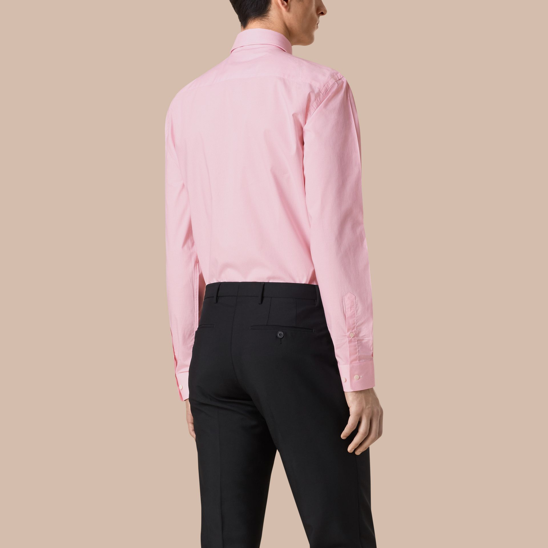 Modern Fit Gingham Cotton Poplin Shirt in City Pink - gallery image 3