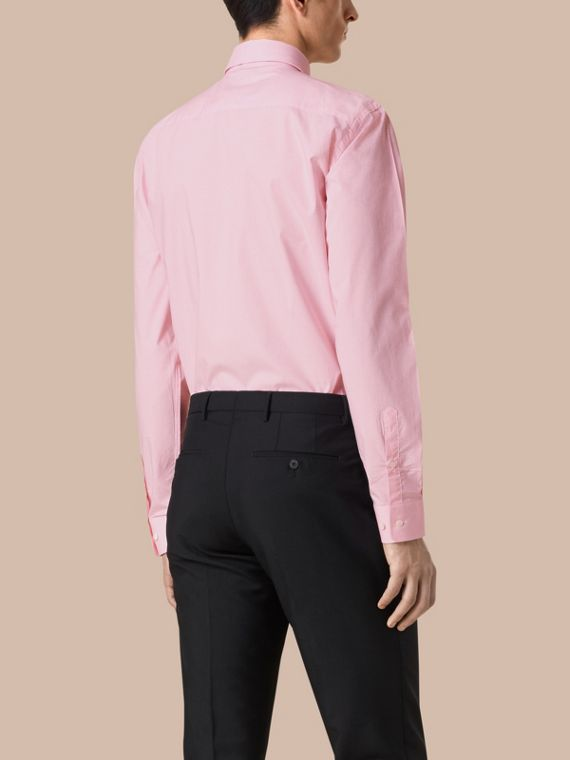 Modern Fit Gingham Cotton Poplin Shirt in City Pink - cell image 2