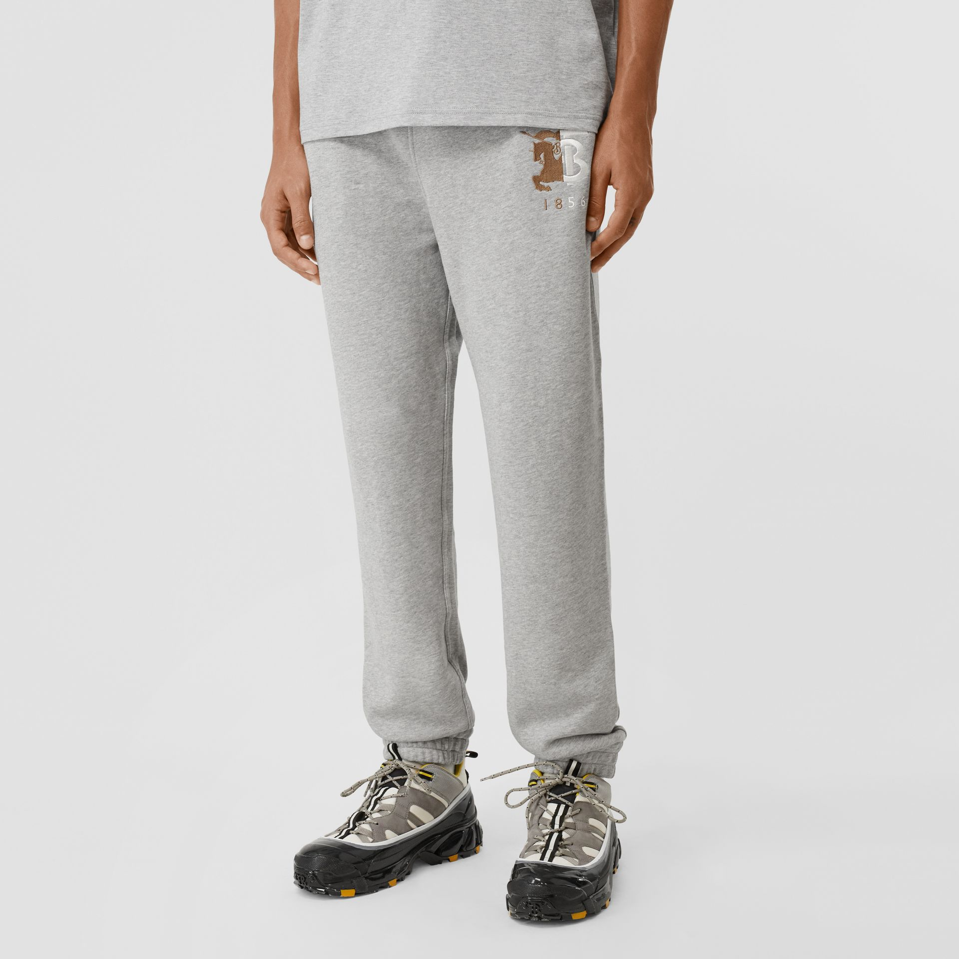 Contrast Logo Graphic Cotton Trackpants in Pale Grey Melange - Men | Burberry - gallery image 4