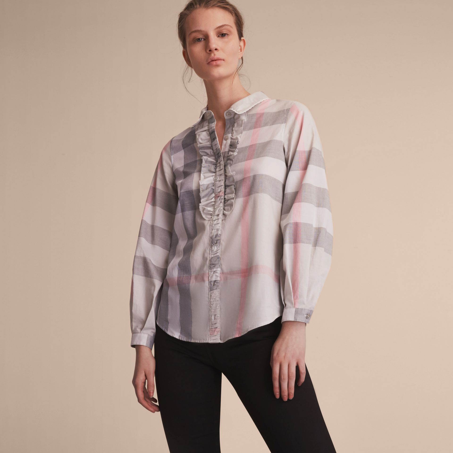 Ruffle Detail and Lace Trim Check Cotton Shirt Pale Taupe - gallery image 6