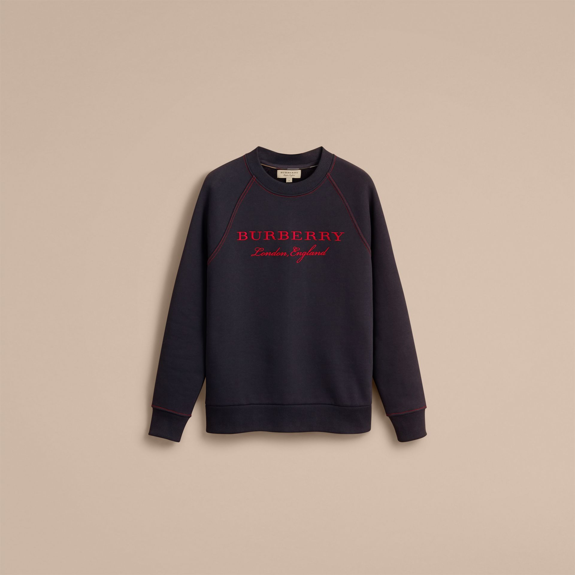 Embroidered Jersey Sweatshirt in Navy - Men | Burberry Australia - gallery image 4