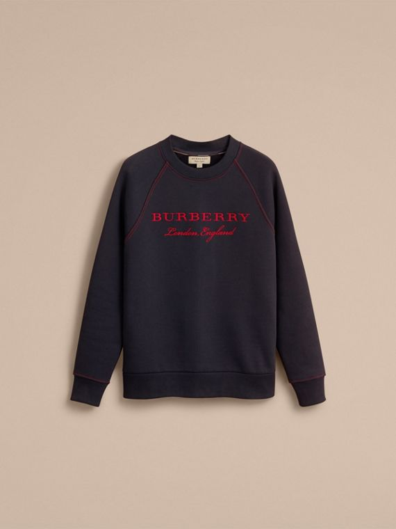 Embroidered Jersey Sweatshirt in Navy - Men | Burberry Australia - cell image 3