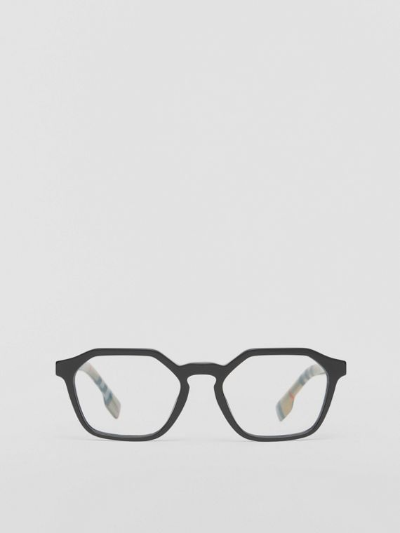 Vintage Check Detail Geometric Optical Frames in Black