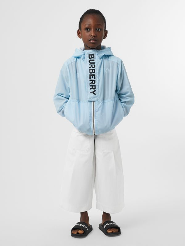 Logo Print Lightweight Hooded Jacket in Light Blue | Burberry United Kingdom - cell image 3