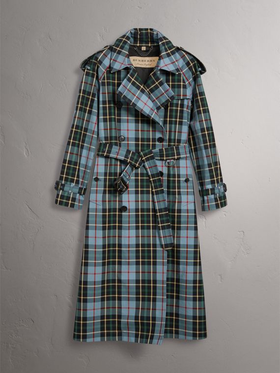 Tartan Cotton Gabardine Trench Coat in Cyan Blue - Women | Burberry - cell image 3