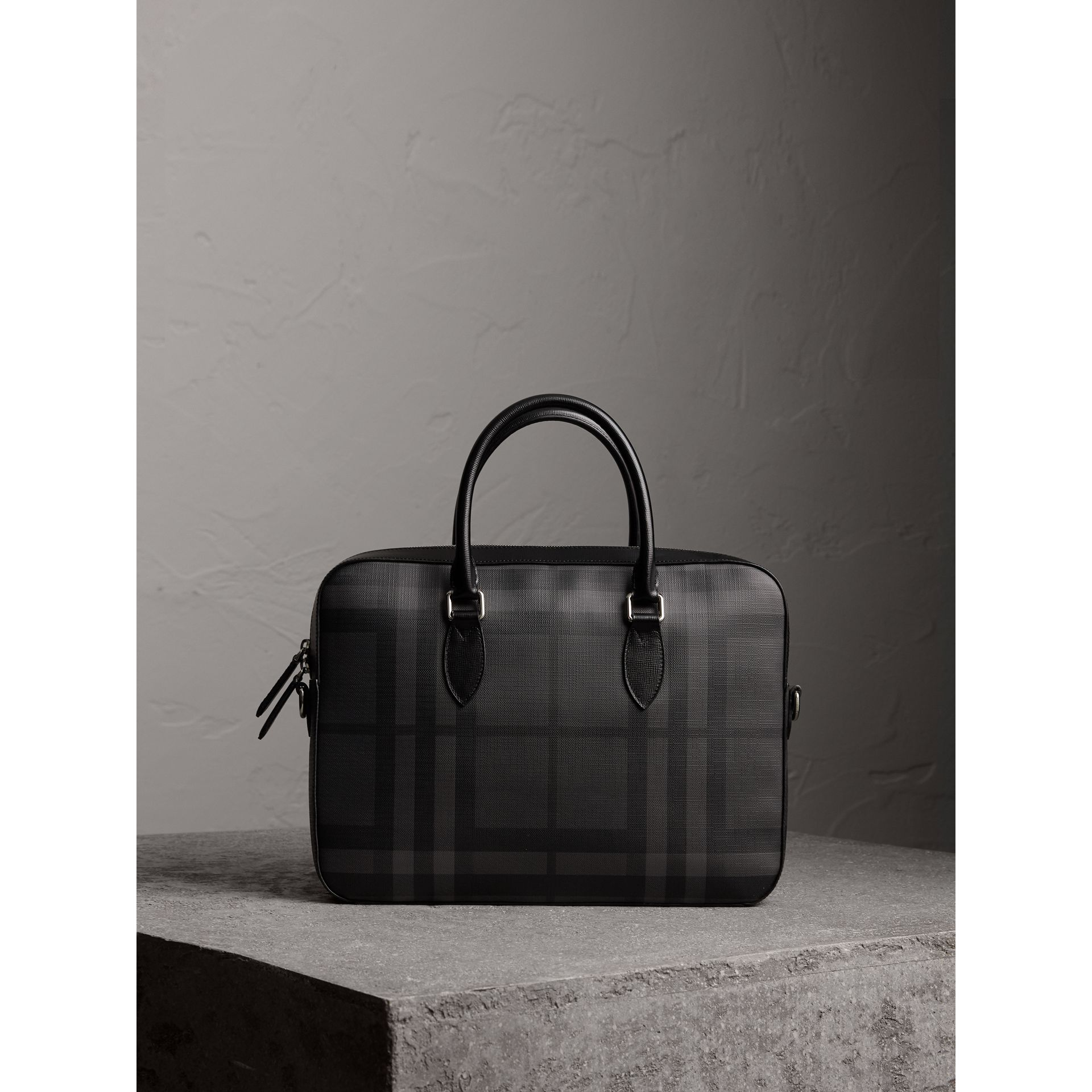 Medium Leather Trim London Check Briefcase in Charcoal/black - Men | Burberry - gallery image 1