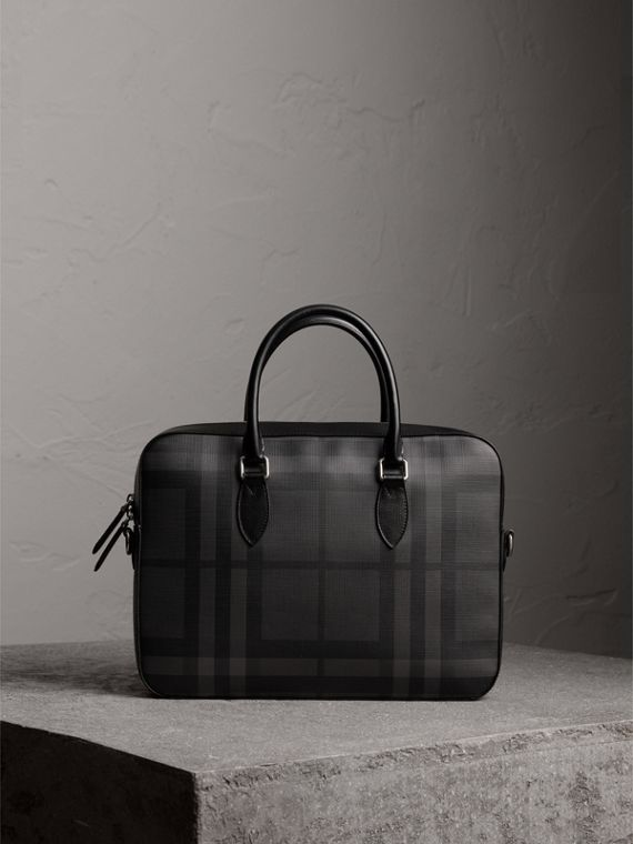 Medium Leather Trim London Check Briefcase in Charcoal/black
