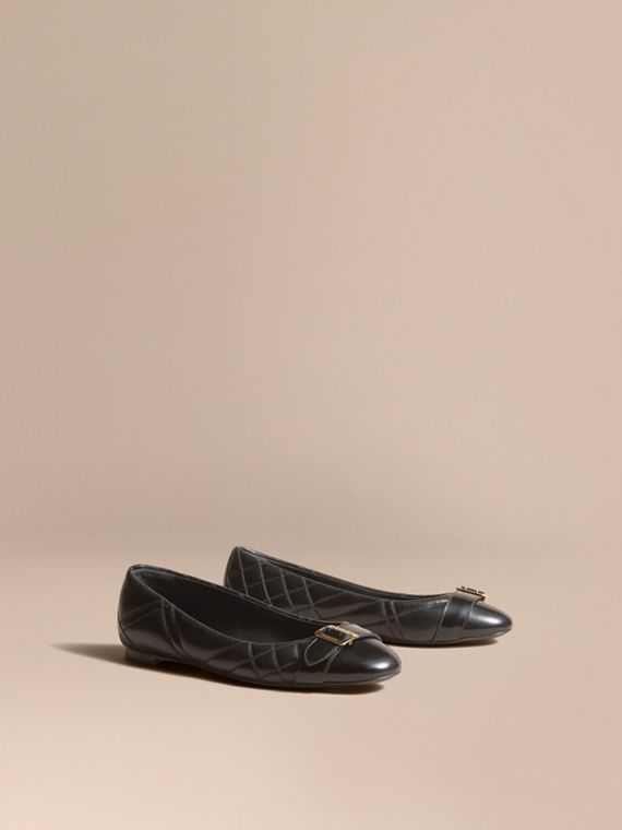 Buckle Detail Quilted Lambskin Leather Ballerinas in Black