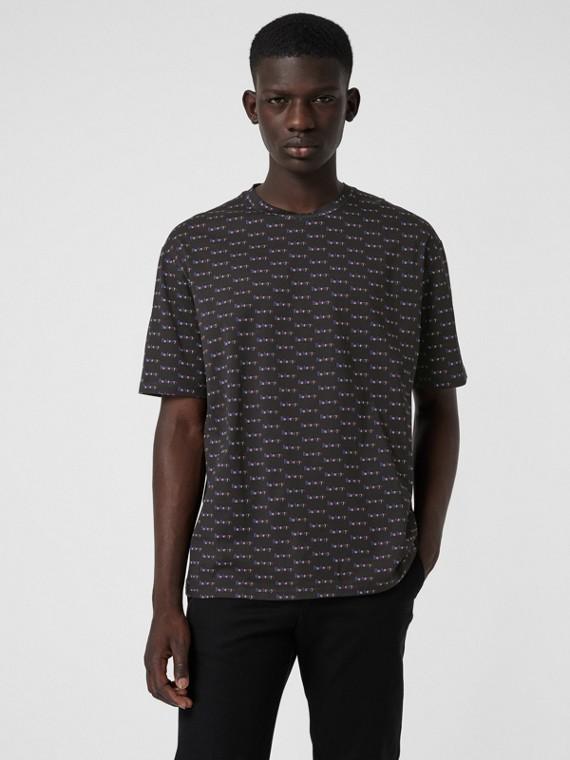 Archive Logo Print Cotton T-Shirt in Black