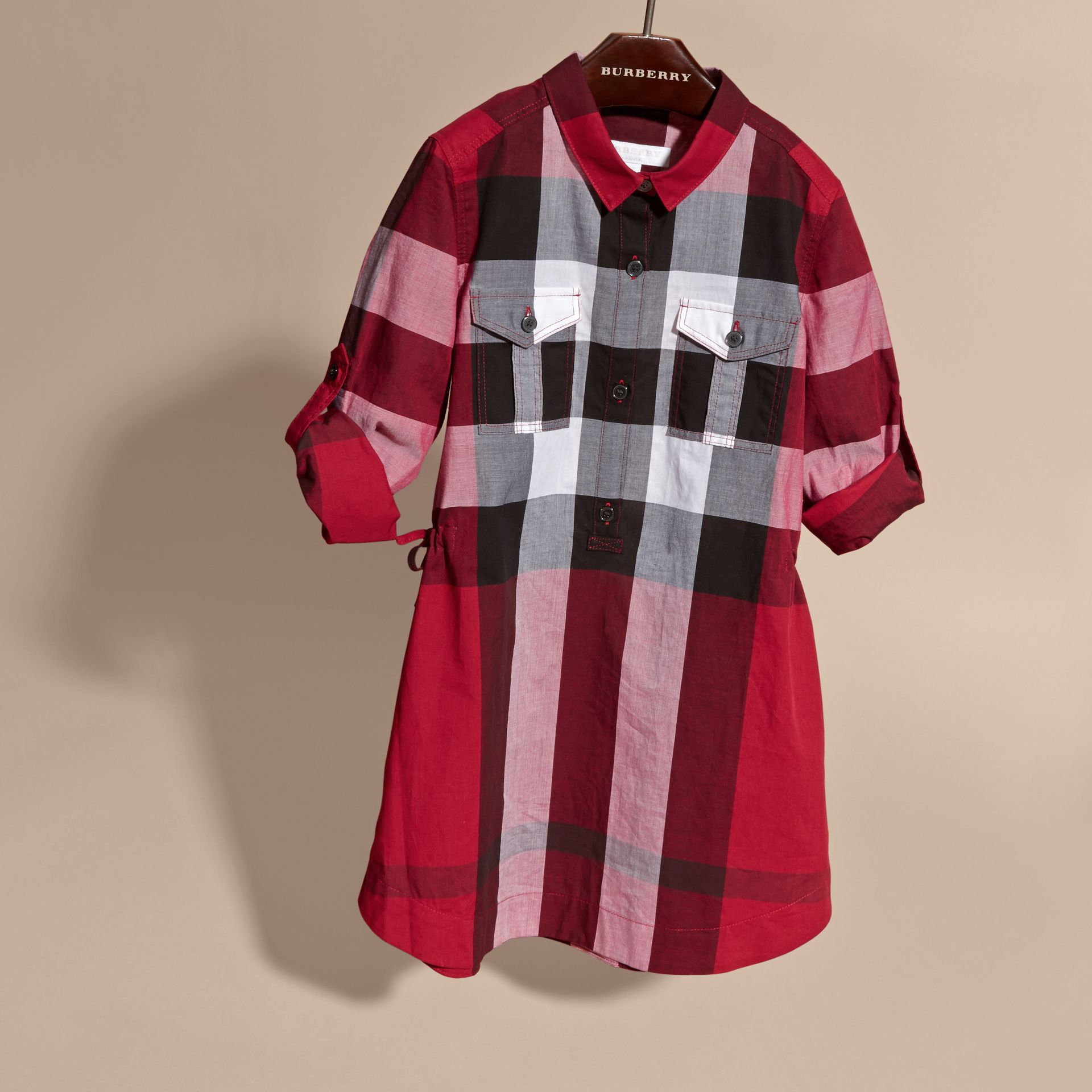 Check Cotton Shirt Dress Parade Red - gallery image 3