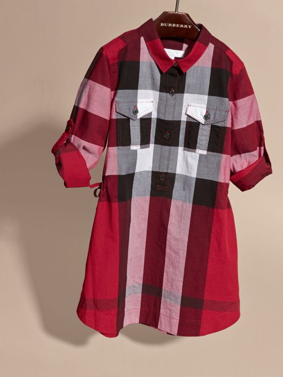 Check Cotton Shirt Dress in Parade Red - cell image 2