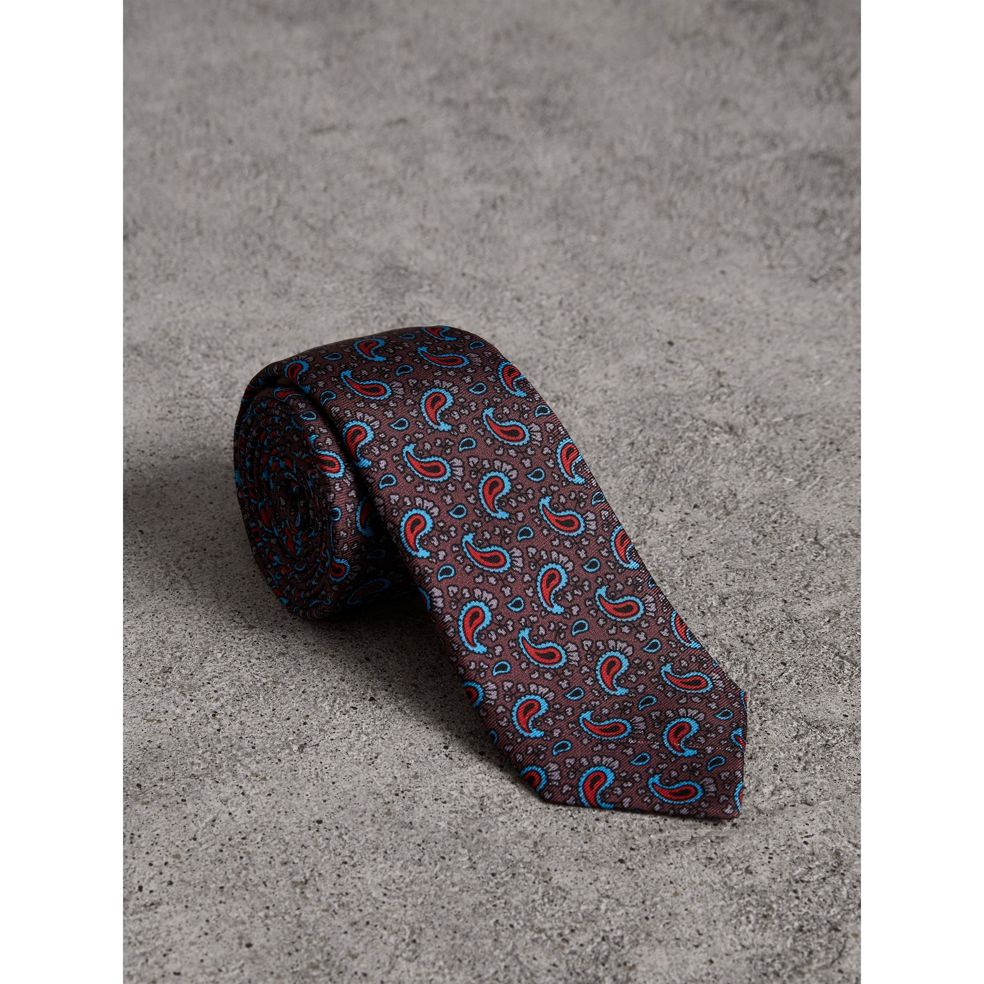 Slim Cut Paisley Silk Twill Tie in Regency Purple - Men | Burberry - gallery image 0