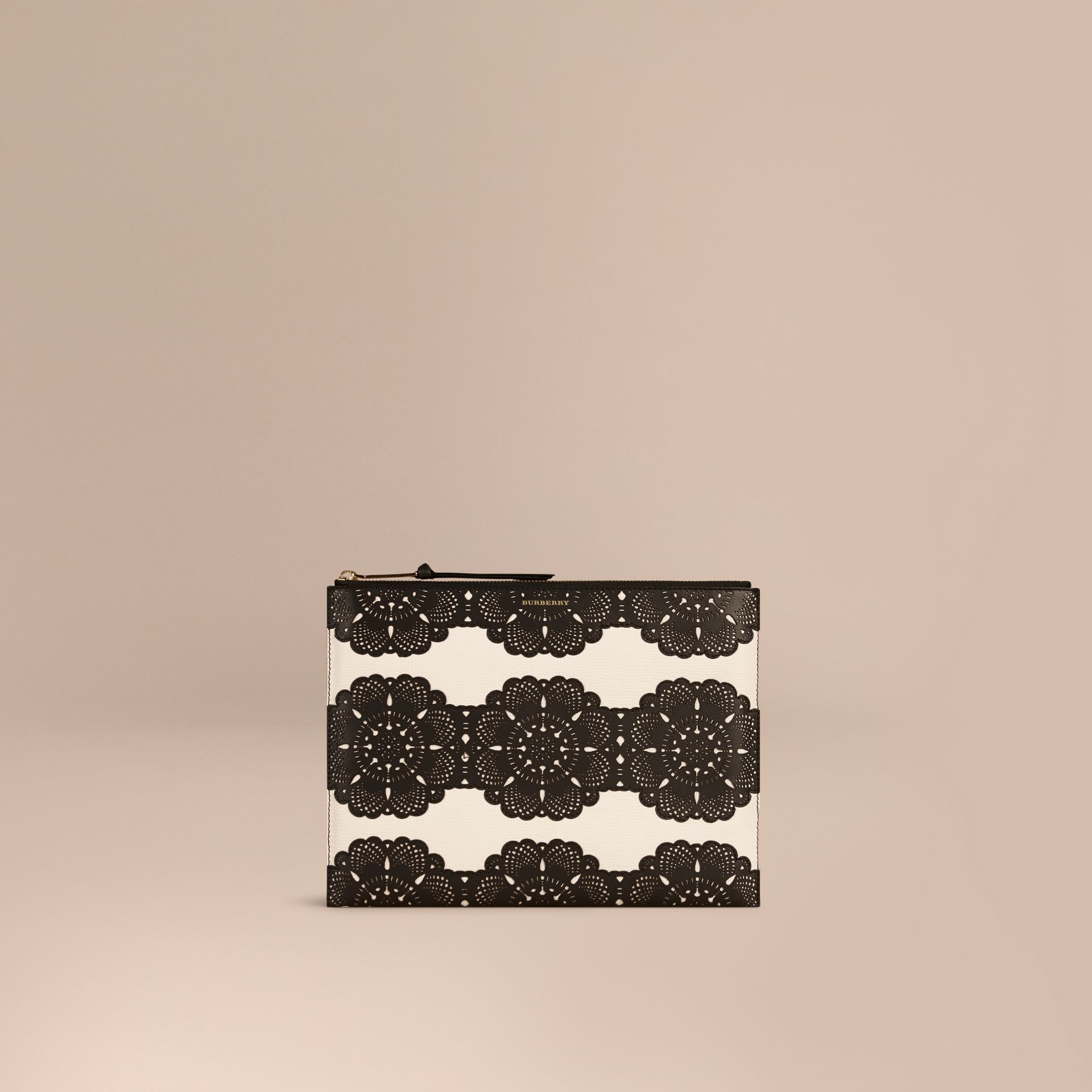 Natural Extra-large Laser-cut Lace Leather Beauty Wallet - gallery image 1