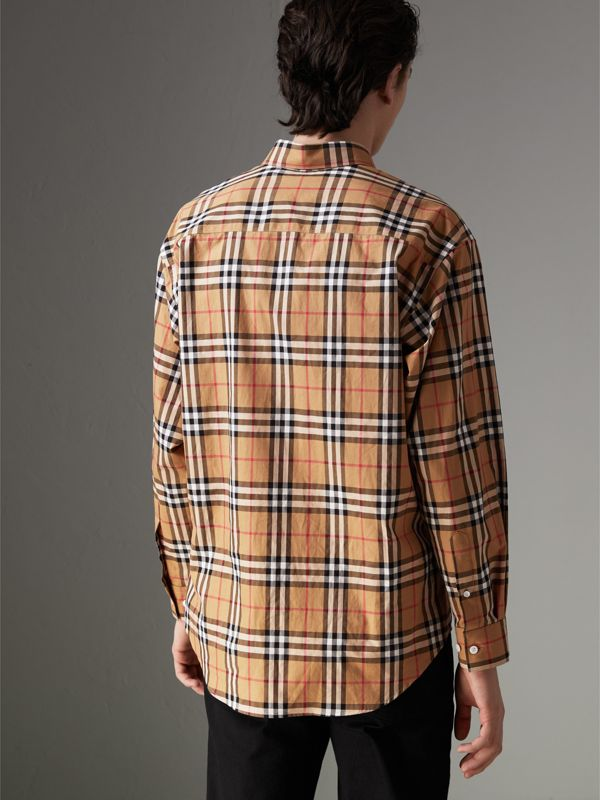 Camicia in cotone con motivo Vintage check e colletto button-down (Giallo Antico) - Uomo | Burberry - cell image 2