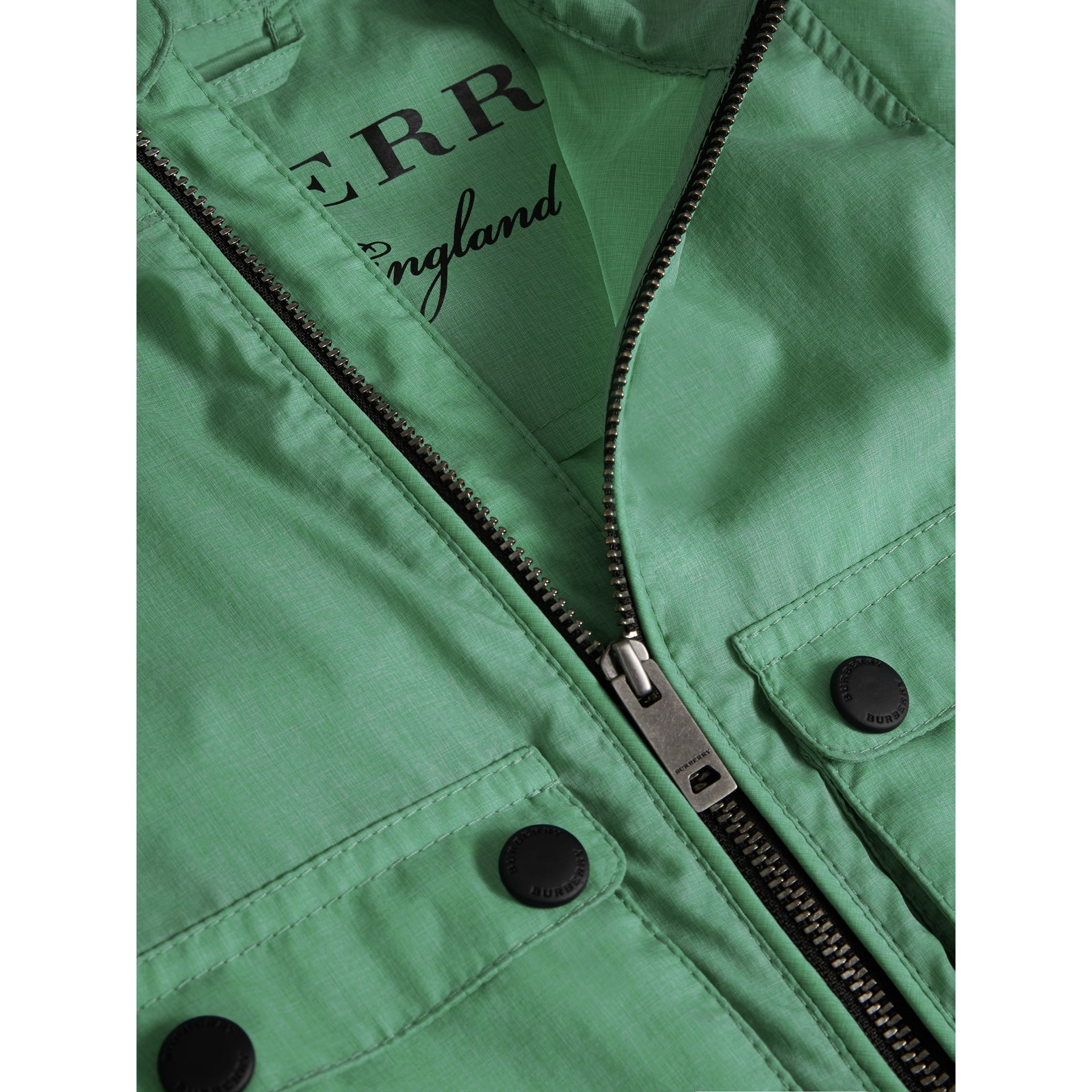 Showerproof Hooded Jacket in Vibrant Green | Burberry - gallery image 1