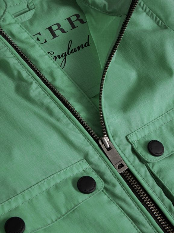 Showerproof Hooded Jacket in Vibrant Green - Children | Burberry - cell image 1