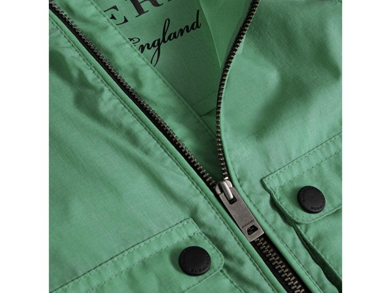 Showerproof Hooded Jacket in Vibrant Green | Burberry United States - cell image 1