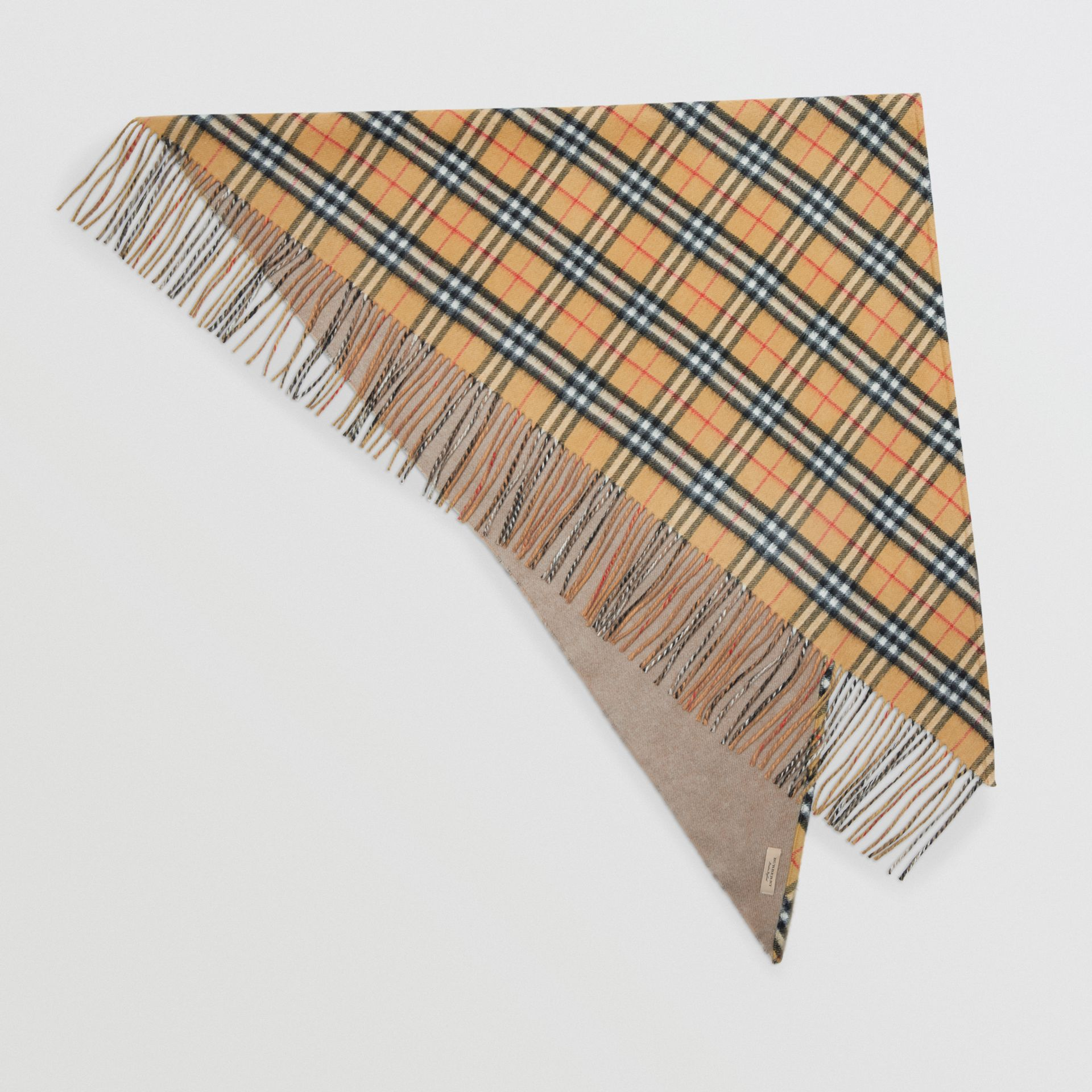 The Burberry Bandana in Vintage Check Cashmere in Sandstone | Burberry United Kingdom - gallery image 0