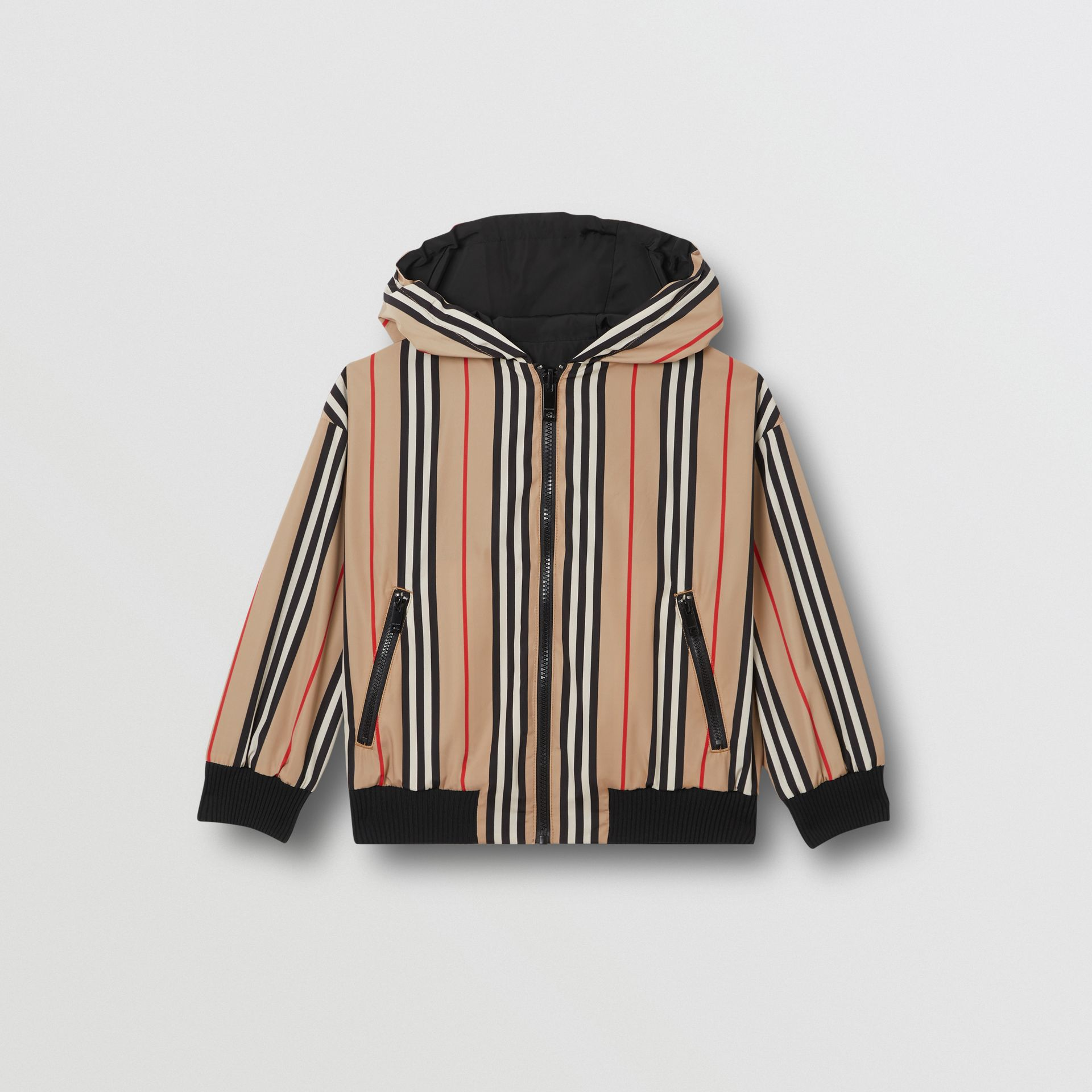 Reversible Icon Stripe Hooded Jacket in Black | Burberry Canada - gallery image 0