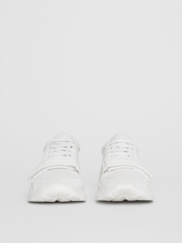 Suede, Neoprene and Leather Sneakers in Optic White - Women | Burberry United States - cell image 2