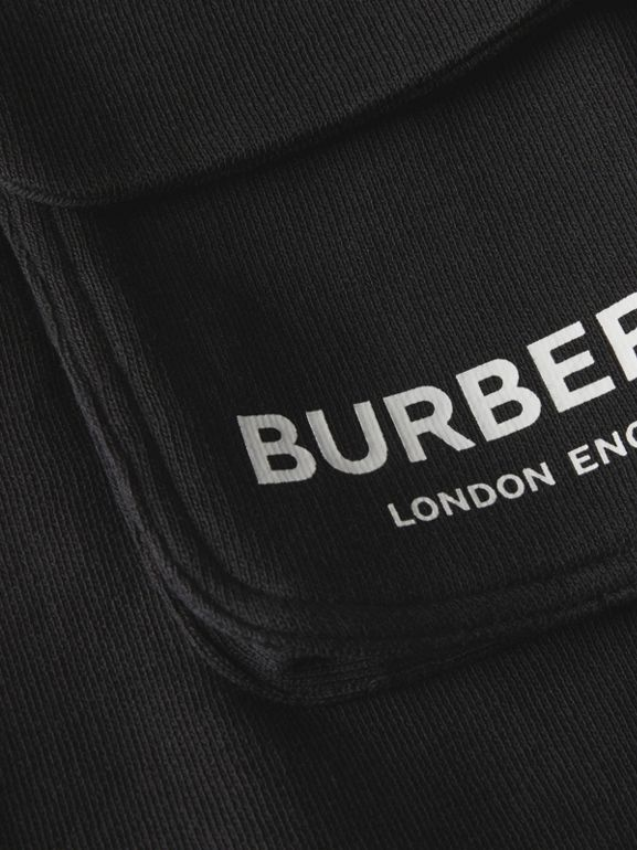 Logo Print Cotton Drawcord Shorts in Black | Burberry - cell image 1