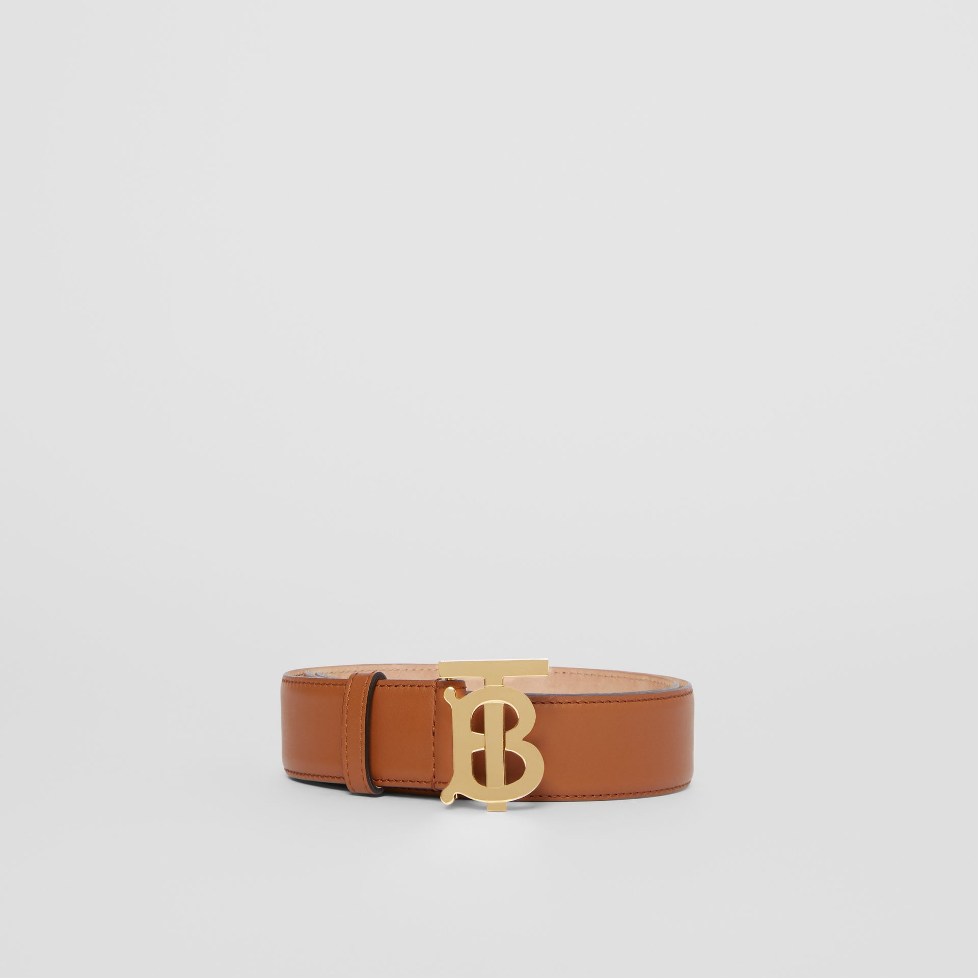Monogram Motif Leather Belt in Tan - Women | Burberry - gallery image 3